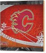Calgary Flames Christmas Wood Print