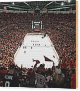 Calgary Flames V Anaheim Ducks - Game Wood Print