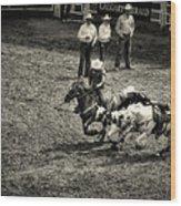 Calgary Stampede Black And White Wood Print