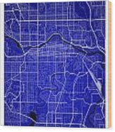 Calgary Street Map - Calgary Canada Road Map Art On Colored Back Wood Print