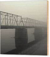 Calhoun Street Bridge In Fog Wood Print