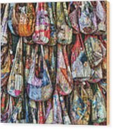 Calico Bags Wood Print by Brenda Bryant