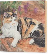 Calico Cat In Garden Watercolor Painting Wood Print