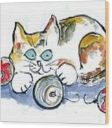 Calico Kitty With Three Ornaments Wood Print