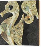 California Mid Century Modern Abalone Sea Horses Wood Print