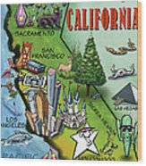 California Cartoon Map Wood Print
