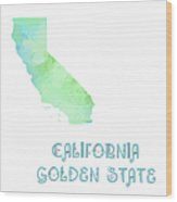 California - Golden State - Map - State Phrase - Geology Wood Print by Andee Design