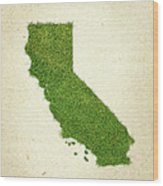 California Grass Map Wood Print by Aged Pixel