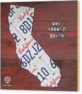 California License Plate Map Wood Print