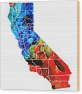 California - Map Counties By Sharon Cummings Wood Print