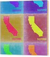 California Pop Art Map 2 Wood Print