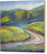 California Poppy Path Wood Print
