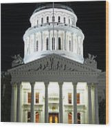 California State Capitol At Night Wood Print