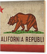 California State Flag Art On Worn Canvas Wood Print by Design Turnpike