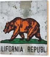 California State Flag Weathered And Worn Wood Print