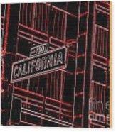 California Street Sign Red Wood Print