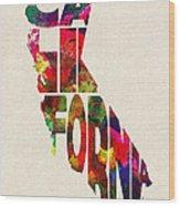 California Typographic Watercolor Map Wood Print
