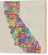 California Typography Text Map Wood Print