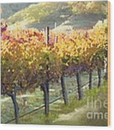 California Vineyard Series Morning In The Vineyard Wood Print