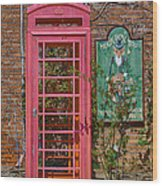 Call Me - Abandoned Phone Booth Wood Print