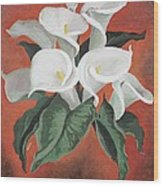 Calla Lilies On A Red Background Wood Print