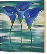Calla Trio- Calla Lily Paintings Wood Print