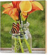 Calla's And The Butterfly Wood Print