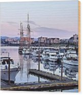Calm In The Harbour Wood Print by Jenny Hudson