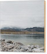 Calm Lake Against Mountain Range Wood Print