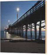 Calm Night At Newport Pier Wood Print