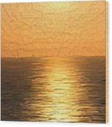 Calm Sunset At Sea Wood Print