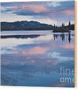 Calm Twin Lakes At Sunset Yukon Territory Canada Wood Print