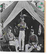 Calvary Troopers On Bivouac Tent Date Unknown Image Restored Color Added 2008  Wood Print