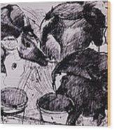 Calves, Damp, Newborn, 1978 Pen & Ink On Paper Wood Print