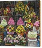 Cambodia Flower Seller Wood Print by Mark Llewellyn
