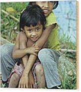 Cambodian Children 02 Wood Print
