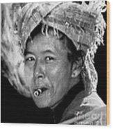 Cambodian Lady Smoker Wood Print
