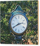 Cambria Square Time Clock Wood Print