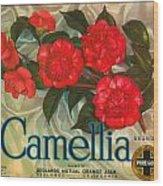 Camellia Crate Label Wood Print