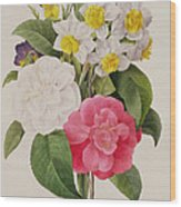 Camellias Narcissus And Pansies Wood Print