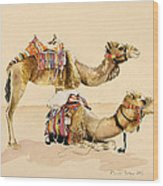 Camels From Petra Wood Print