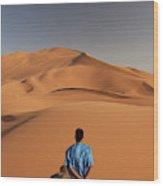 Camels In Sahara Desert. Erg Chebbi Wood Print