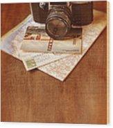 Camera Map And Postcards Wood Print