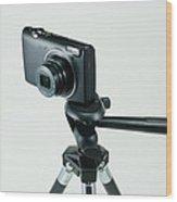 Camera On Tripod Wood Print