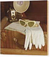 Camera Sunglasses On Luggage Wood Print