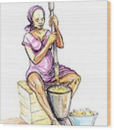 Cameroon Woman Grinding Plantain Bananas Wood Print