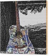 Camo Guitar Wood Print