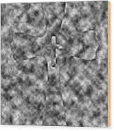 Camouflage Gray Black And White Cross Wood Print