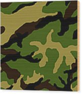 Camouflage Military Tribute Wood Print