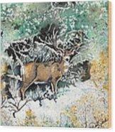 Camouflaged Mule Deer Buck In Winter Wood Print